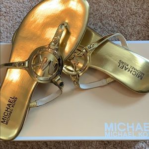 Michael Kors gold sandals new in box